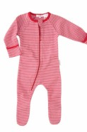 Purebaby zip growsuit red stripe