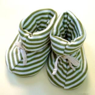 Sckoon Organic ZEN Cotton Booties - Green Stripe